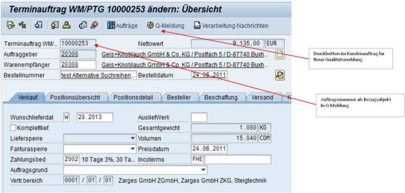 SAP Reklamationsabwicklung Terminauftrag WM/PTG ändern