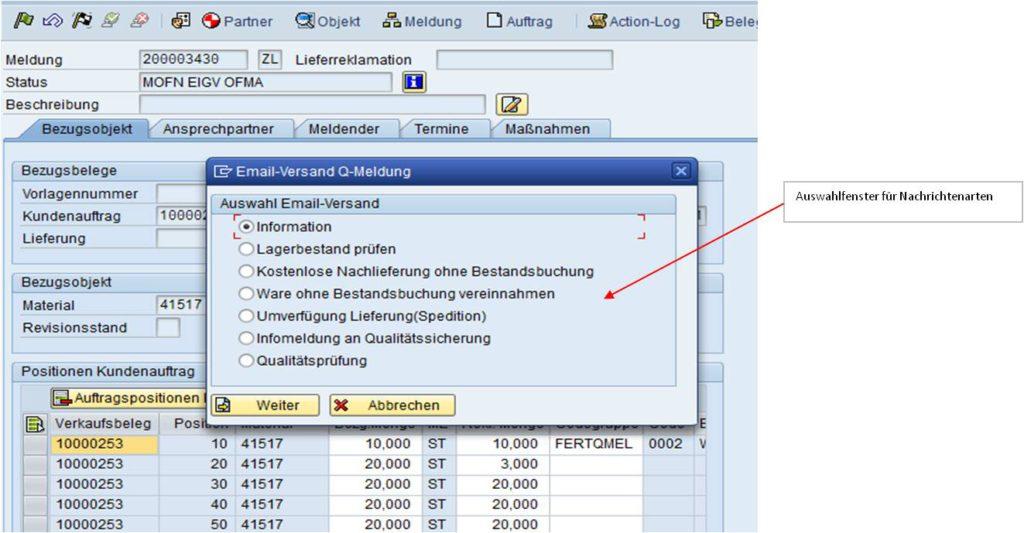 SAP Reklamationsabwicklung - Funktionalität der Aktivitätenleiste in SAP QM ist der E-Mail-Versand