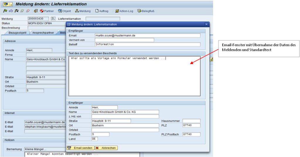 SAP Reklamationsabwicklung - E-Mail Eingabe via Freitext