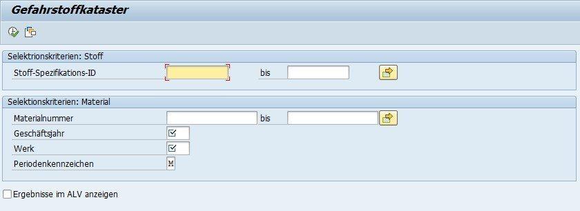 SAP Gefahrstoffkataster - Selektionsbildschirm