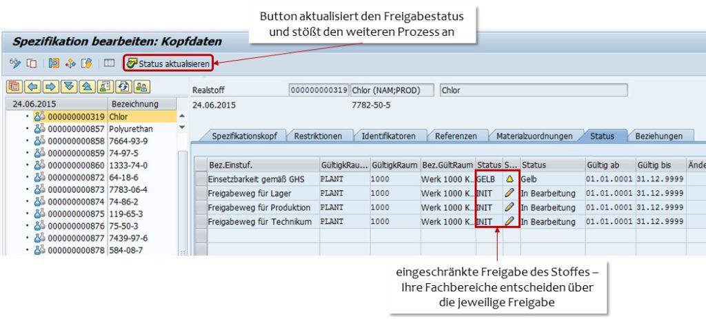 SAP Rohstofffreigabe - Spezifikationsstatur gelb