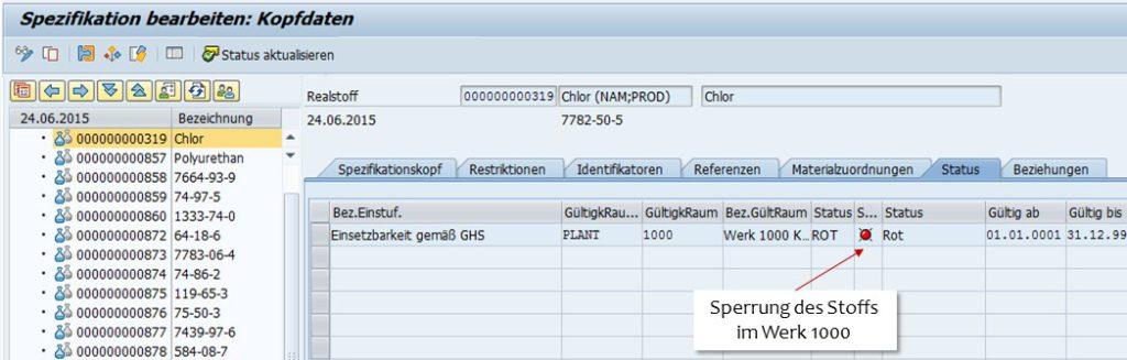 SAP Rohstofffreigabe - Spezifikationsstatus rot