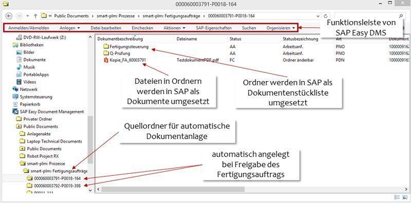SAP Dokumentenverwaltung - Die Benutzeroberfläche im SAP Easy DMS