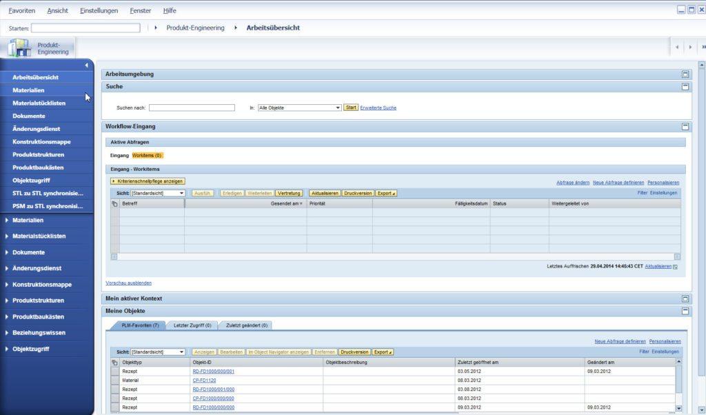 SAP PLM - Arbeitsübersicht