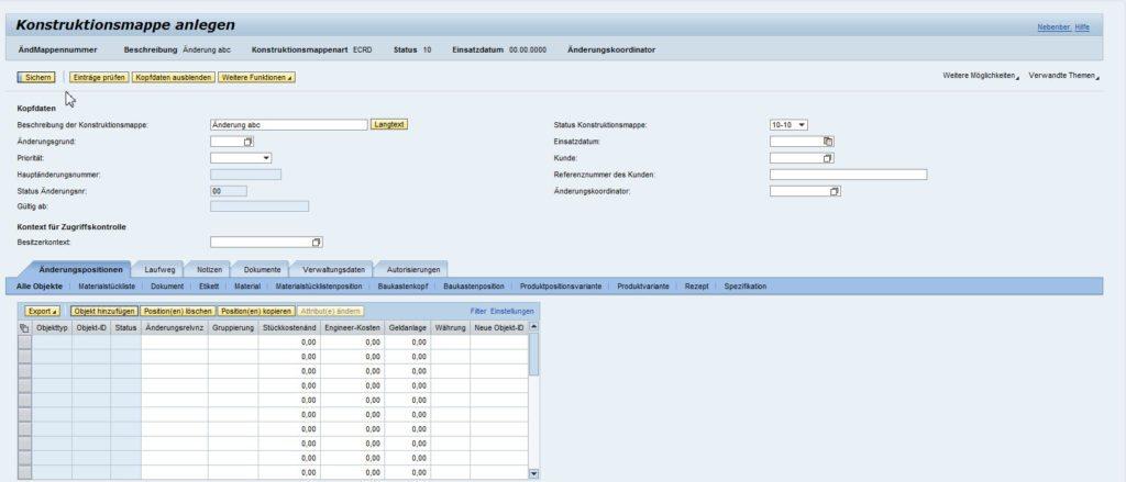 SAP PLM 7 - Kontruktionsmappe anlegen